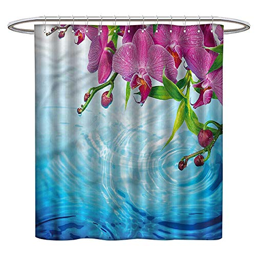(TimBeve Polyester Shower Curtain Floral,Vibrant Orchid Spa Water,Metal Rust Proof Grommets Bathroom Decoration)