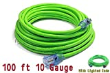 Century Contractor Grade 100' 10 Gauge Power Extension Cord 10/3 Plug,extension cord With Lighted Ends (100 ft 10 Gauge, green)