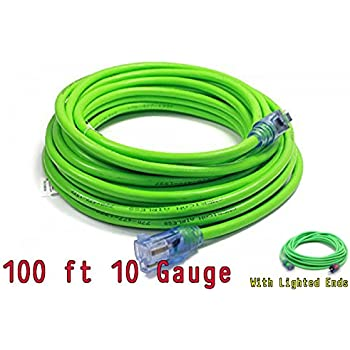 Century Contractor Grade 100 10 Gauge Power Extension Cord 10/3 Plug ,extension cord With Lighted Ends (100 ft 10 Gauge, green)