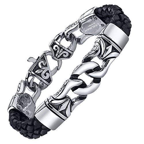 Coolman Black Stainless Steel Braided Leather Bracelet Cross Bracelets 8.8 Inch for Men Women