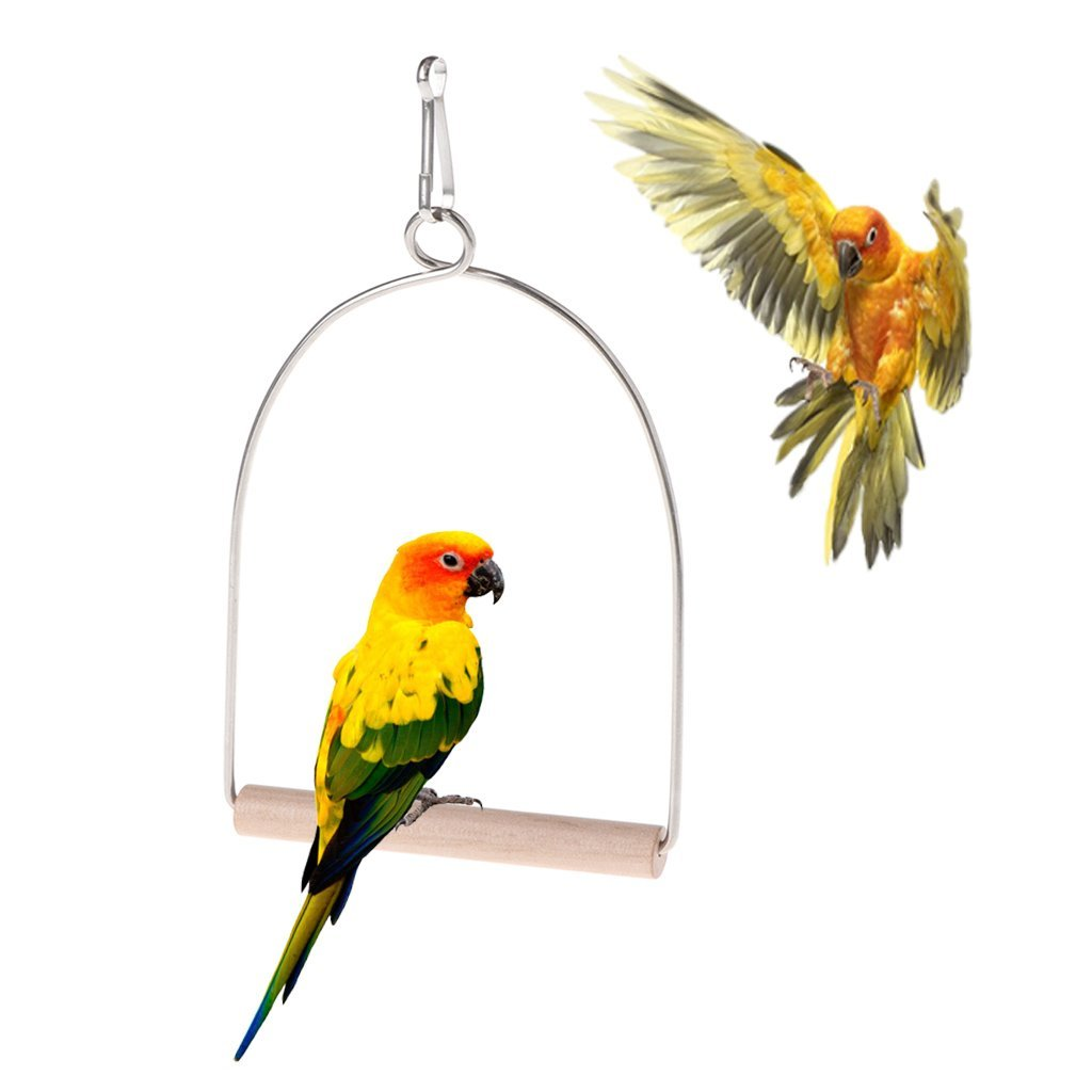 Natural Wooden Birds Perch Parrots Hanging Swing Cage Toys Stand Holder Pendant Premium Quality by Yevison