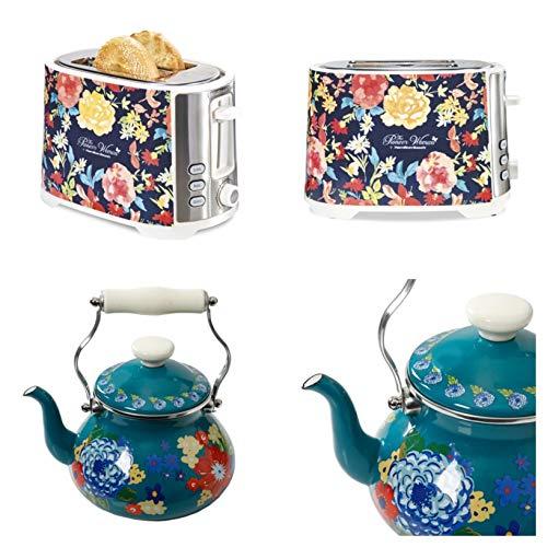 (Pioneer Woman Extra-Wide Slot 2 Slice Toaster Fiona Flora Bundle with Woman Dazzling Dahlias 2-Quart Tea Kettle)