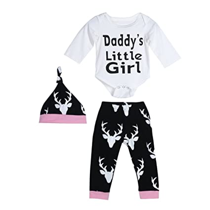 5b599a83 Diamondo 3pcs Baby Toddler Kids Long Sleeve Letter Print Daddy's Little Girl  Rompers Pants Hat Outfit