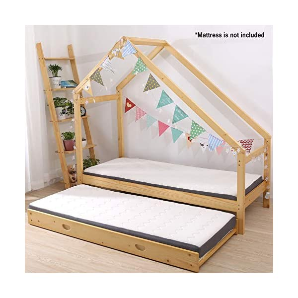 UHOM Children Wood Bed Toddler House Frame Bed Tent Floor Double Bed, Twin Size Bedroom Furniture 6
