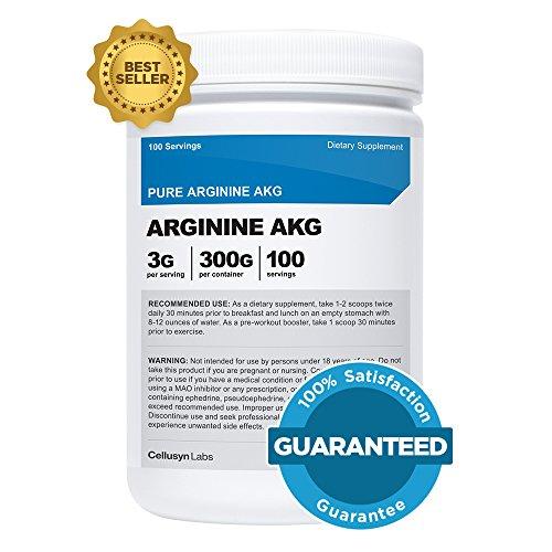 Cellusyn Arginine AKG poudre 300 grammes (AAKG) - 3G par portion & 100 portions - Pure Arginine Alpha Ketoglutarate