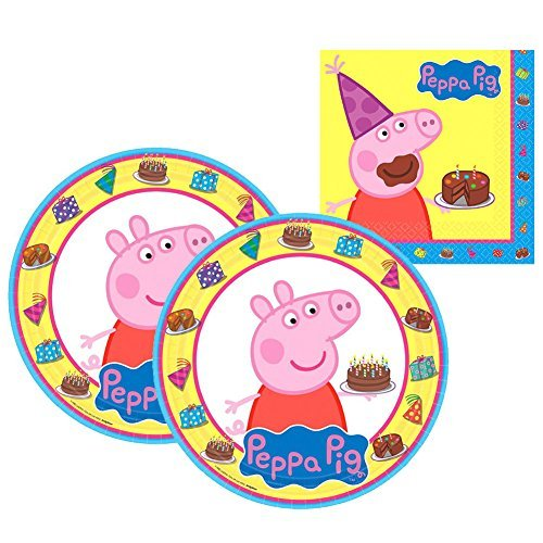 Amscan Peppa Pig Party Supplies Pack for 16 Guests Includes: 16 Lunch Plates and 16 Lunch Napkins -