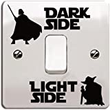 """'Star Wars de vinilo etiqueta/Calcomanía """"Dark Side–Light Side para interruptor de luz negro Talla:Style 6"""