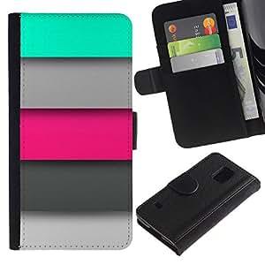 All Phone Most Case / Oferta Especial Cáscara Funda de cuero Monedero Cubierta de proteccion Caso / Wallet Case for Samsung Galaxy S5 V SM-G900 // rosa menta gris líneas modelo verde pastel