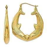 14k Yellow Gold Dolphin Hoop Earrings Ear Hoops Set Animal Sea Life Fine Jewelry For Women Gift Set