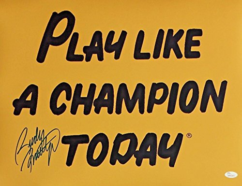 Autographed Ruettiger Photo - 16X20 3 Play Like A Champion Today - JSA Certified - Autographed College Photos