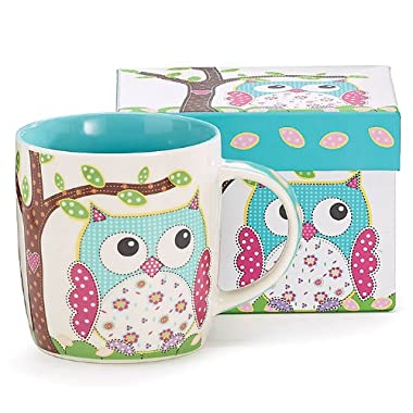 Whimsical Calico Owl Bone China Coffee Mug 14 Ounces with Decorative Gift Box, Teal