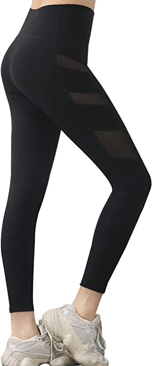 SIXDU Yoga Pants Women High Waist Tummy Control Leggins Running Workout Fitness with Mesh Pockets