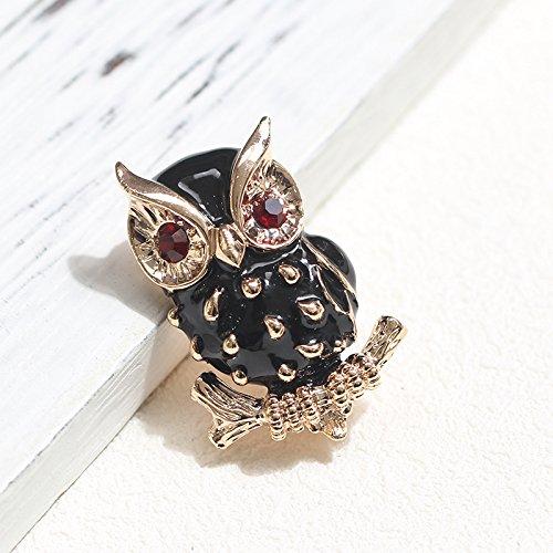 - Korean cute black dripping red eyes owl brooch pin brooch temperament wild men women