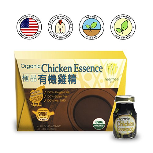 Healthee Chicken Essence Extract Drink, Premium Brand and Organic, Original flavor, Glass Bottle, 2.36 Ounces (70 ml) - Pack of 6 - 有機雞精 (Best Organic Chicken Brands)
