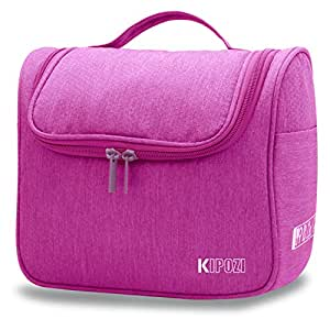 KIPOZI Hanging Travel Toiletry Bag for Men & Women, Waterproof Toiletry Organizer For Travels, Travel Shower Bag with Mesh Pockets & Sturdy Hook,New Arrival (Fushcia)