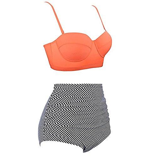 Haute Maillot Femmes Bikinis Push Impression Maillots Bain Pièces Rétro Up Set Ethniques Amlaiworld Taille Bikini Orange 2 Beachwear Deux De dwItvxZ5nq