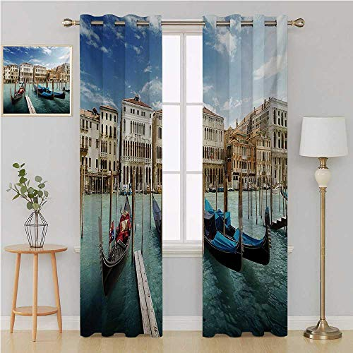 (Italian gromet Curtain Room Divider Curtain Screen Partitions,Gondolas in the Venetian Adriatic Lagoon Historical Venezia Photo curtain living room 96 By 84 Inch Blue Sand Brown Almond Green)