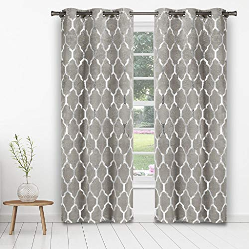 - Kelvin - Alena Metallic Blackout Room Darkening Grommet Top Window Curtains Pair Panel Drapes for Bedroom, Living Room - Set of 2 Panels - 38 X 84 Inch - Silver