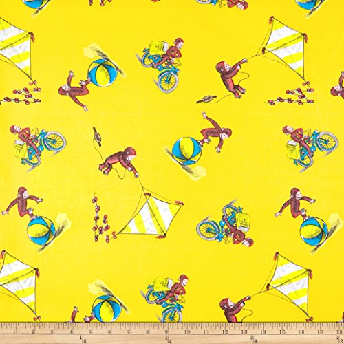 Springs Creative Products Universal Curious George Cotton Delivering Papers Yellow Fabric by The ()