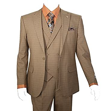 Men's 3 Piece Single Button Mini-Plaid Pattern Suit (Taupe) (54L)