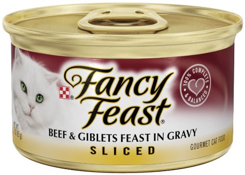 Fancy Feast Gourmet Cat Food, Sliced Beef and Giblets Feast in Gravy, 3-Ounce Cans (Pack of 24), My Pet Supplies