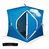 ibigbean Ice Fishing Shelter Thicken Cotton 4 Persons Portable Water-Proof Ice Tent with Carry Bag - 72x72x80in