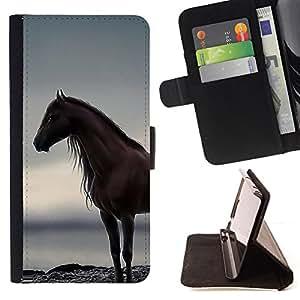 - horse sea ocean stallion grey summer - - Prima caja de la PU billetera de cuero con ranuras para tarjetas, efectivo desmontable correa para l Funny HouseFOR LG G2 D800