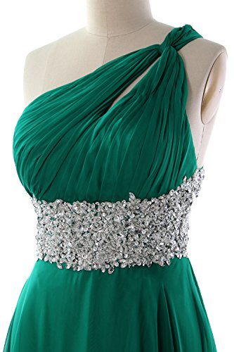 MACloth Women One Shoulder Chiffon Maxi Prom Dress Cut Out Back Formal Gown Verde