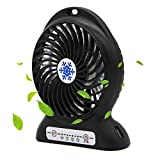CoolFoxx Adjustable Mini USB Fan, Handheld 3 Powerful Wind Speeds Rechargeable Quiet Operation Portable Table Outdoor Cooling Fan with 2200mAh Battery for Traveling Hiking Fishing, 4.7 Inch (Black)