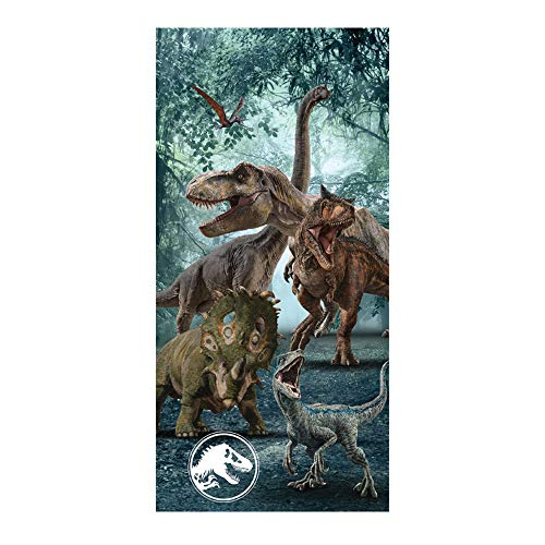 Jurassic World Beach Towel 58 X 28 Inches | Summer Beach & Pool Towel 100% Soft Cotton Fabric | Jurassic World Character Beach Towel (Jurassic)