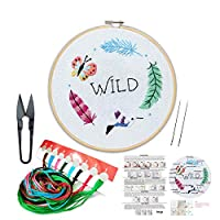 Embroidery Kit Including Embroidery Hoop,Color Threads and Embroidery Scissors for Beginners-Handmade Needlepoint Kits for Adults Kids