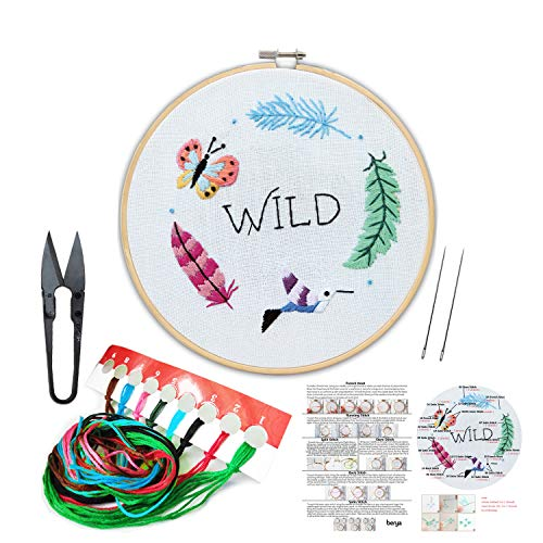Embroidery Kit Including Embroidery Hoop,Color Threads and Embroidery Scissors for Beginners-Handmade Needlepoint Kits for Adults Kids(Spring)