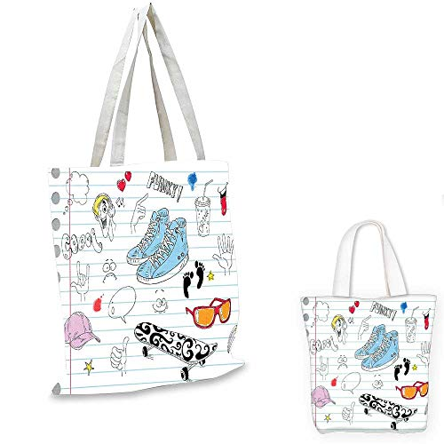 Doodle canvas messenger bag Notebook Design with a Variety Drawings Funky Skateboard Shooting Star foldable shopping bag Black Light Blue Ginger. 14