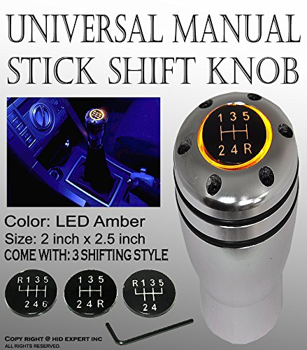 (ICBEAMER JDM Style Gear Stick Shift Knob Aluminum Silver Bright Yellow LED Manual Transmission w/ 2pcs CR2032 Battery)