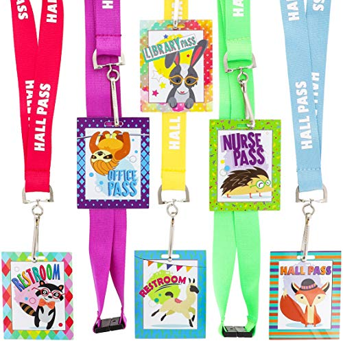 Juvale 12 Pack Student Classroom Hall Passes with Lanyards for Teachers, 6 Destinations, 2.3 x 3 -