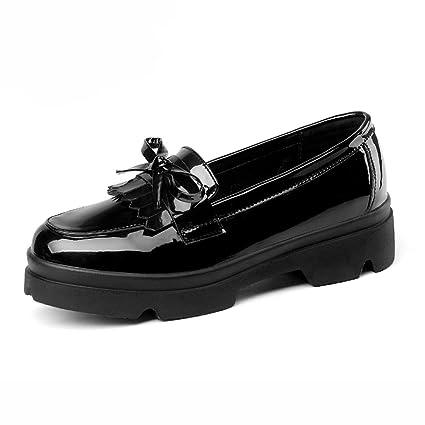 Zapatos para mujer HWF Zapatos Individuales Femeninos Otoño Mocasines Gruesos Inferiores Zapatos de Cuero Femeninos Estilo
