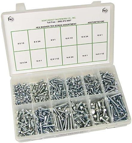 250 Pieces with Plastic Storage Organizer Hex Washer Head Screws NEF Self Drilling Tek Screw Assortment