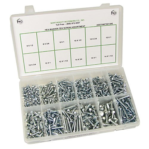 250 pieces with Plastic Storage Organizer NEF Self Drilling Tek Screw Assortment Hex Washer Head Screws