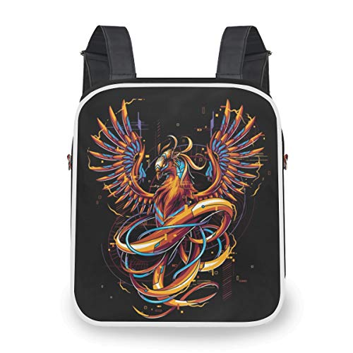 UMZONE Cool Casual Backpack Womens Convertible Crossbody Bag Messenger With Phoenix Printing - Multifunction