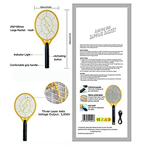 Beastron Bug Zapper Rechargeable Mosquito, Fly Killer and Bug Zapper Racket, 3000 Volt Usb Charging, Super-Bright Led Light to Zap in the Dark Unique 3 Layer Safety Mesh that's Safe to Touch