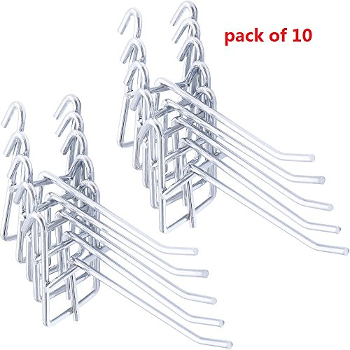 Stainless Steel Grid Wall Bracket Peg Board Display Hook for Panel for Supermarket 10 PC ()