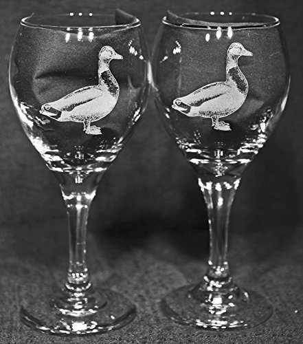 Mallard Duck Laser Etched Wine Glass Set (2, - Duck Etched Glass