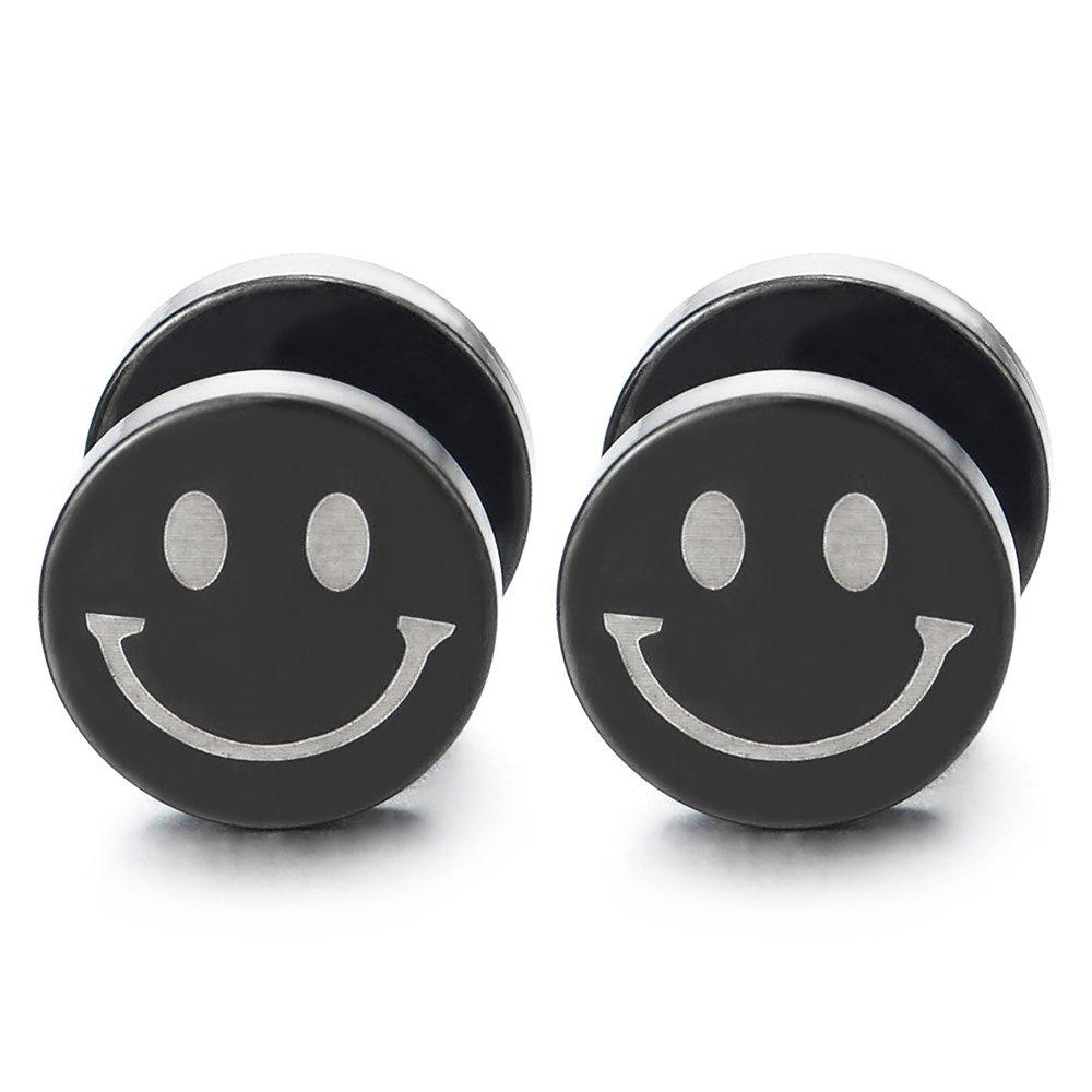 2pcs Mens Women Black Circle Smiling Face Stud Earrings, Steel Cheater Fake Ear Plug Gauges Tunnel COOLSTEELANDBEYOND ME-1356-EU