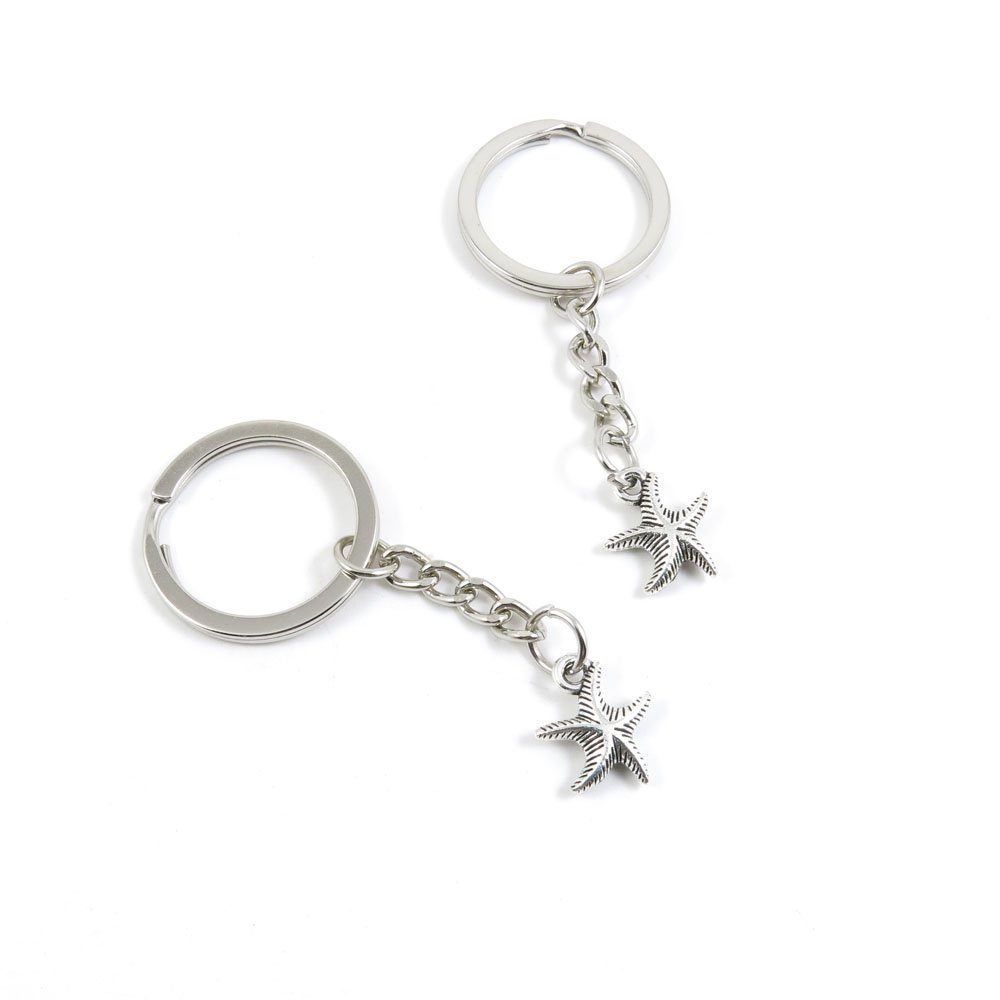 100 Pieces Keychain Door Car Key Chain Tags Keyring Ring Chain Keychain Supplies Antique Silver Tone Wholesale Bulk Lots T7QK8 Starfish Sea Star