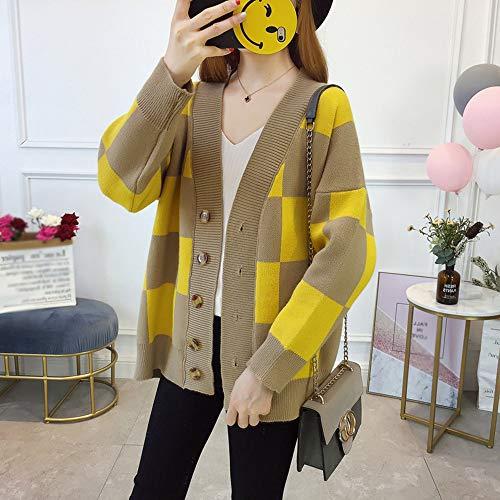 Plaid Otoño Capa Yellow Punto El Suéter Gran Mujer Tamaño Llxym yellow Cardigan Y Invierno onesize Suelto De Suelta 5OpwTqxv