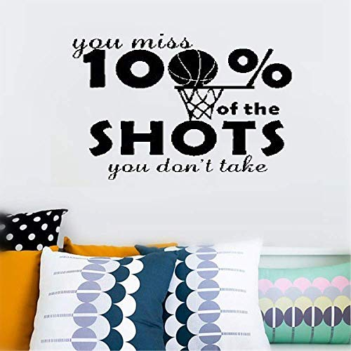 Wall Sticker Family DIY Decor Art Stickers Home Decor Wall Art You Miss 100% of The Shots You Don't Take Quote Sports for Boys Room Bedroom ()