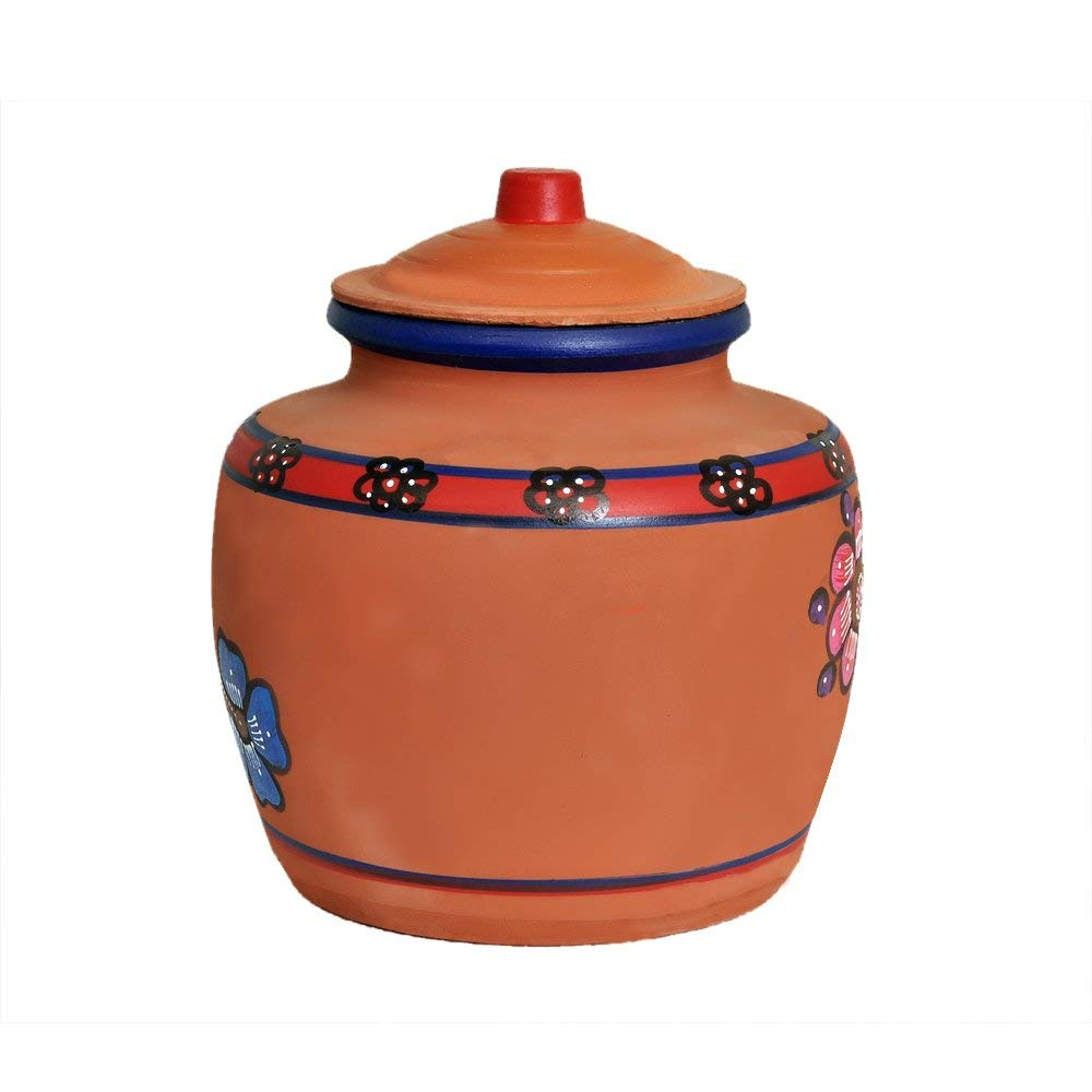 ASBAN's Clay Water Pot | Alkaline Drinking Water Dispenser | Earthen Water  Cooler | Unglazed | with Comfortable Flip Tap | Random Floral Prints | 5