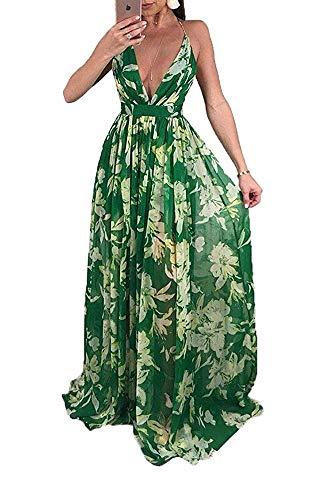 Remelon Womens Sexy Spaghetti Strap Deep V Neck Floral Boho Criss Cross Backless Chiffon Beach Party Long Maxi Dress Green XL
