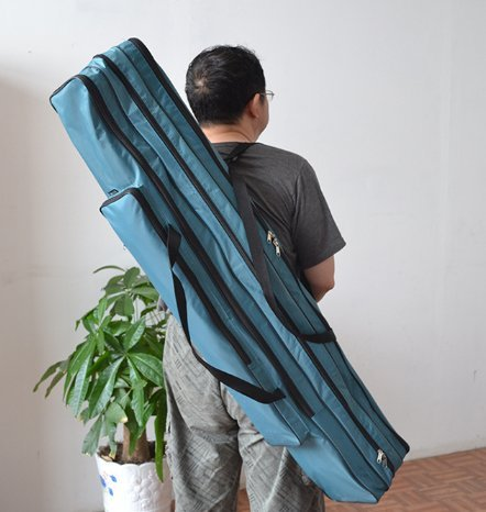 Mitef Double Tiers Large Capacity Fishing Rod Carrier Bag Waterproof Fishing Pole Tools Storage Bag