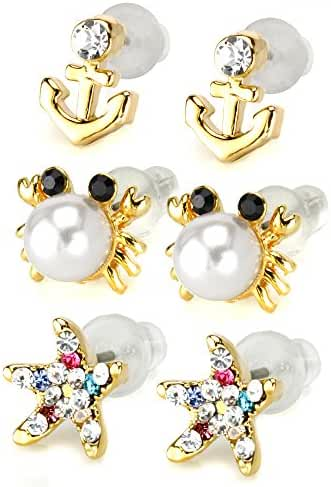 JewelrieShop Girls Cute Cartoon Imitation Pearl Stud Earrings with Sparkling Crystal